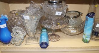 A cut glass globular vase, a pair of tapering vases and other glassware, various