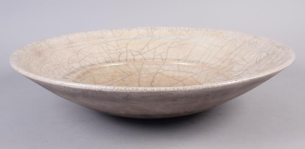 "A John Dunn Raku pearlescent shallow bowl, 17 1/2"" dia x 3 3/4"" high - Image 2 of 5"