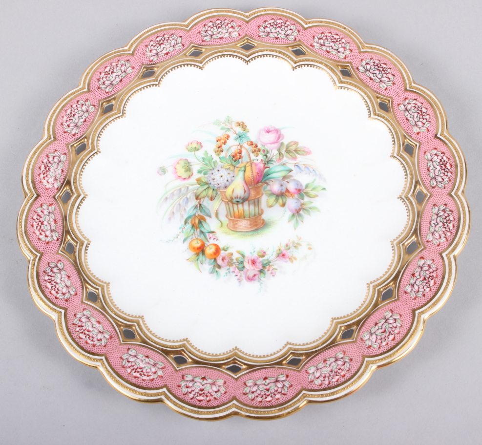 Six 19th century bone china plates, decorated with baskets of flowers and fruit with pink and gilt - Image 11 of 14