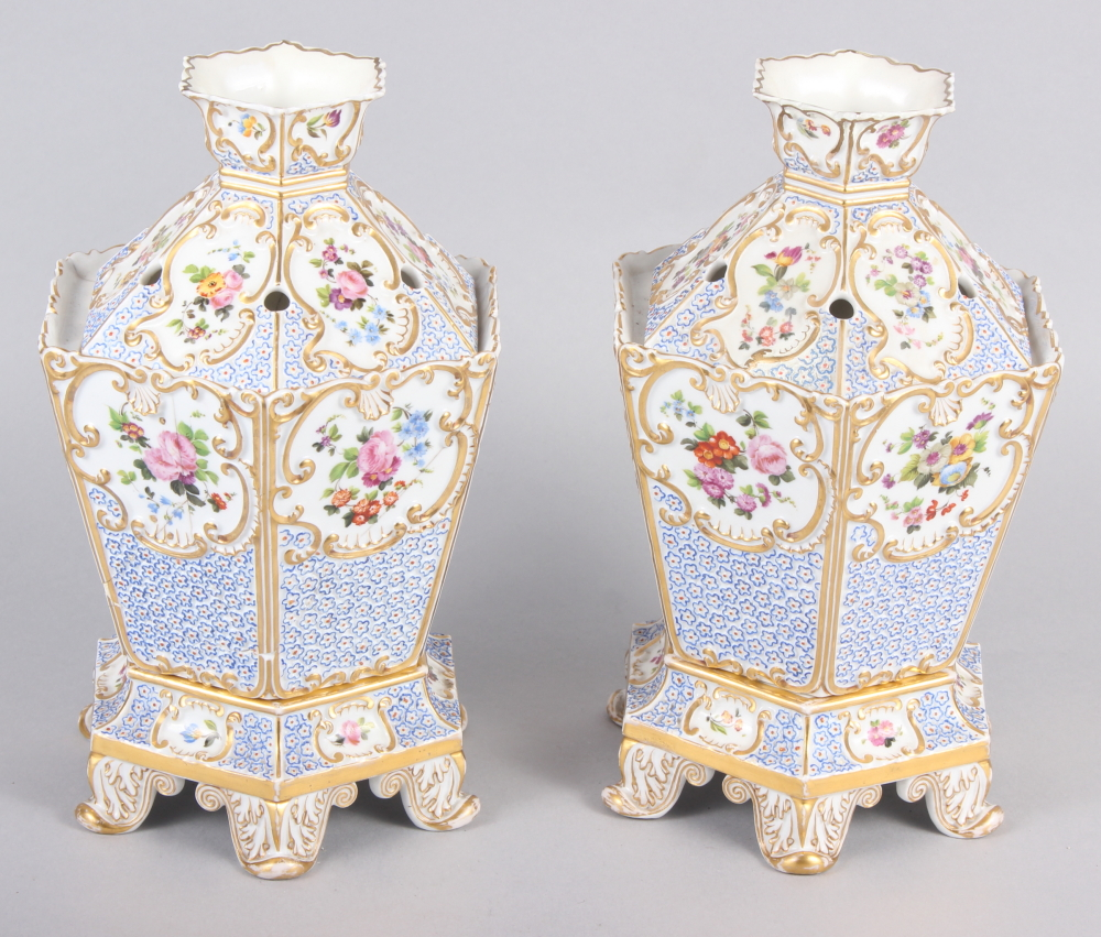 A pair of early 19th century Fontainebleau hexagonal two-handle pot pourri vases, covers and stands