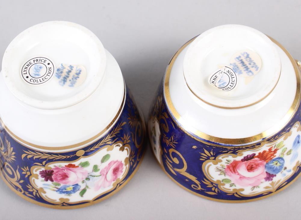 A New China Works, Worcester bone china floral and gilt decorated trio with Lynn Rose collector's - Image 3 of 4