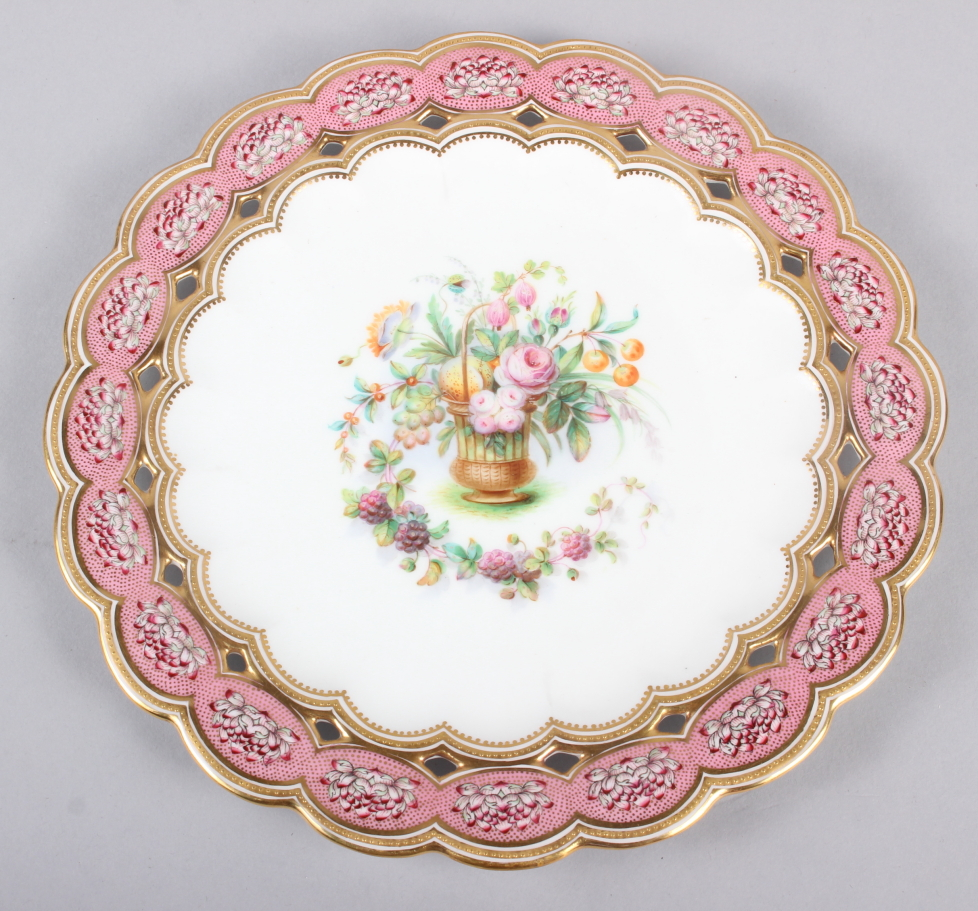 Six 19th century bone china plates, decorated with baskets of flowers and fruit with pink and gilt - Image 13 of 14