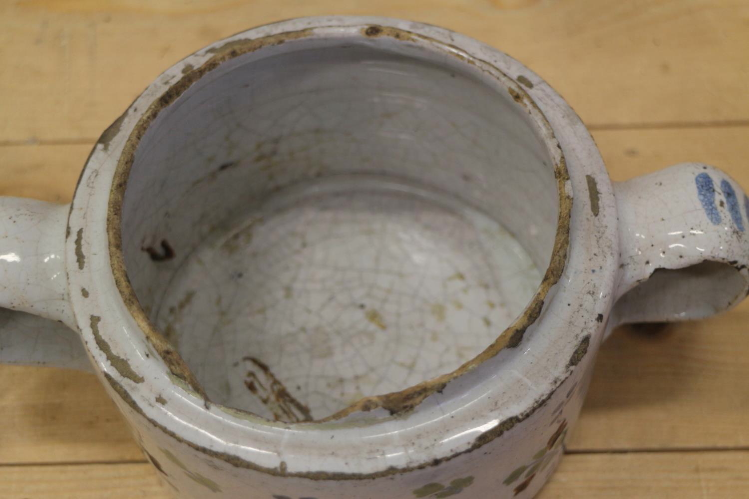 An 18th century Delft ware two handled posset pot and associated cover with white metal mounts, 8 - Image 3 of 14