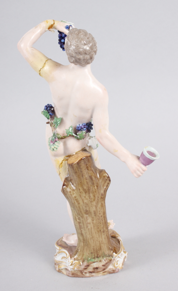 """An 18th century Meissen figure of Bacchus, 8"""" high (restored) - Image 3 of 8"""