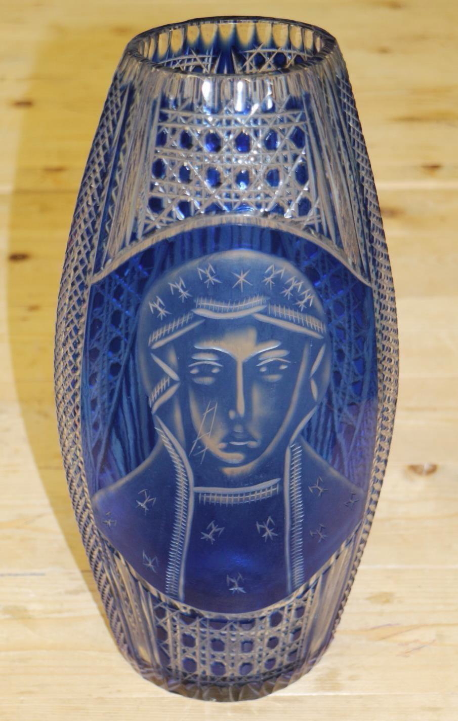 """A 1950s blue overlaid cut and engraved glass vase with orthodox Madonna figure, 14 1/2"""" high"""