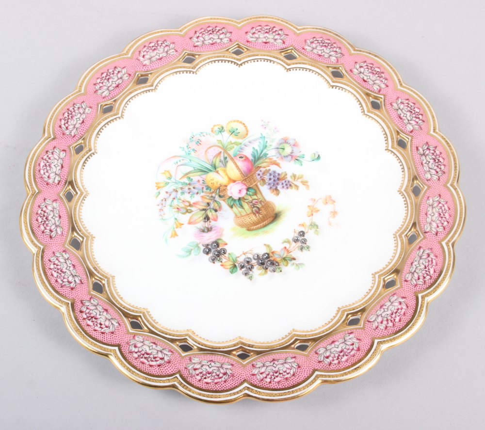 Six 19th century bone china plates, decorated with baskets of flowers and fruit with pink and gilt - Image 9 of 14