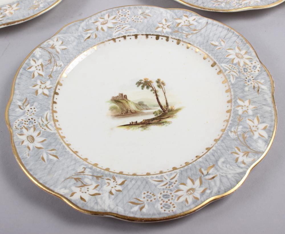 A Rockingham porcelain part dessert service, comprising six plates and two dessert dishes with - Image 5 of 24