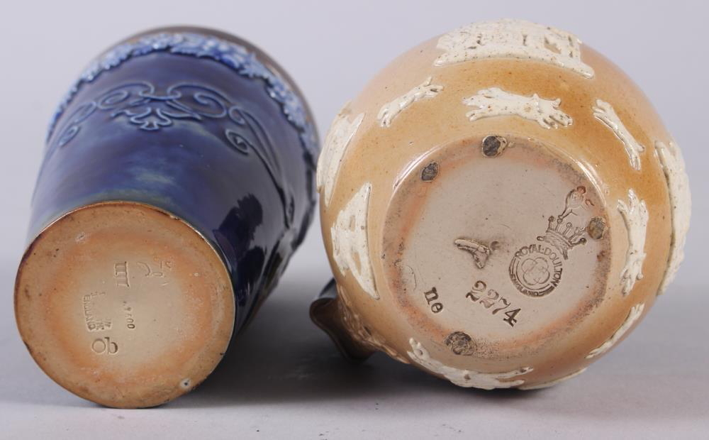 """A Doulton Stoneware 1897 Jubilee beaker, 5"""" high, and a Doulton silver mounted stoneware hunting - Image 3 of 3"""