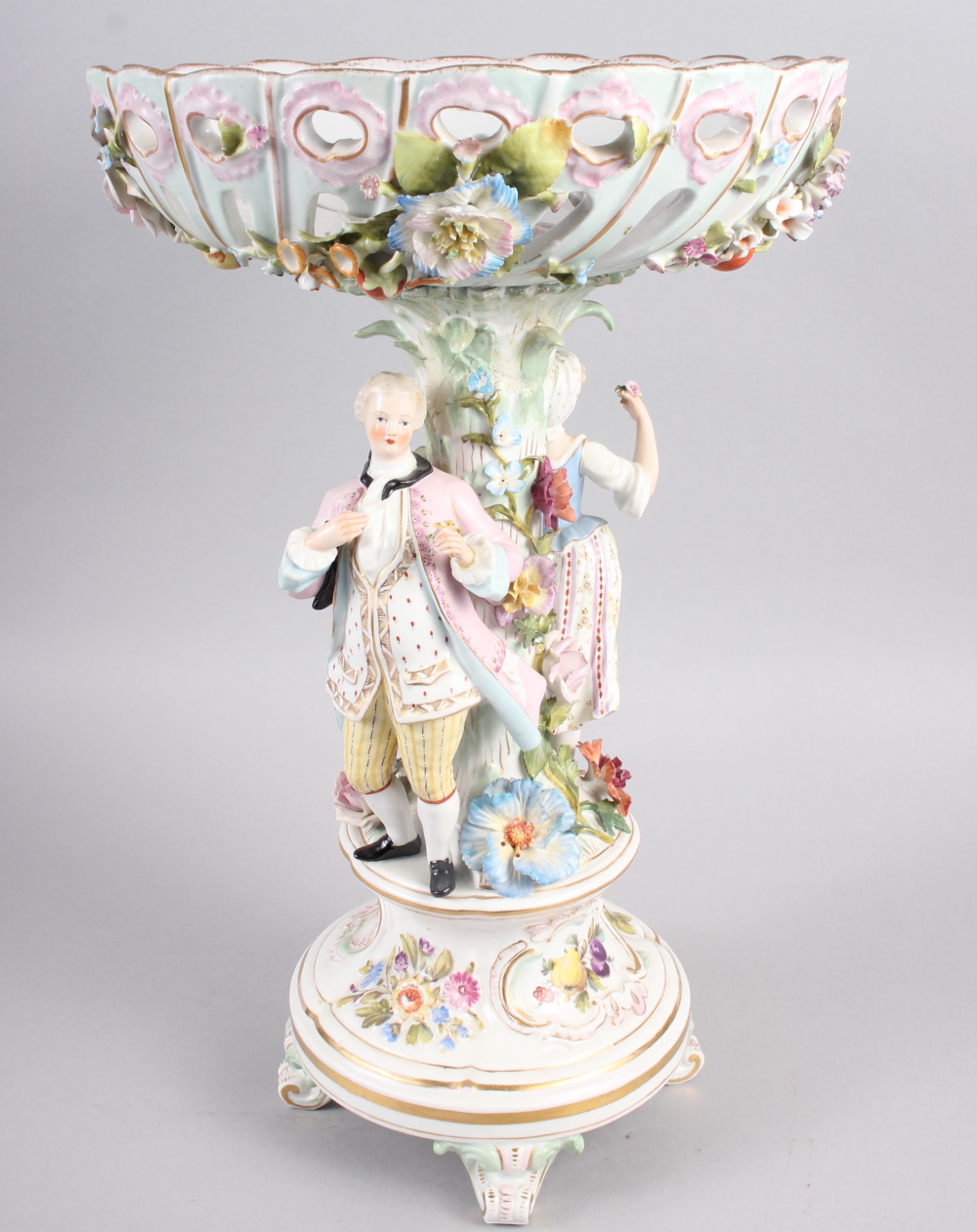 A Continental porcelain table centre, the stem decorated with two figures and floral decoration to - Image 2 of 15