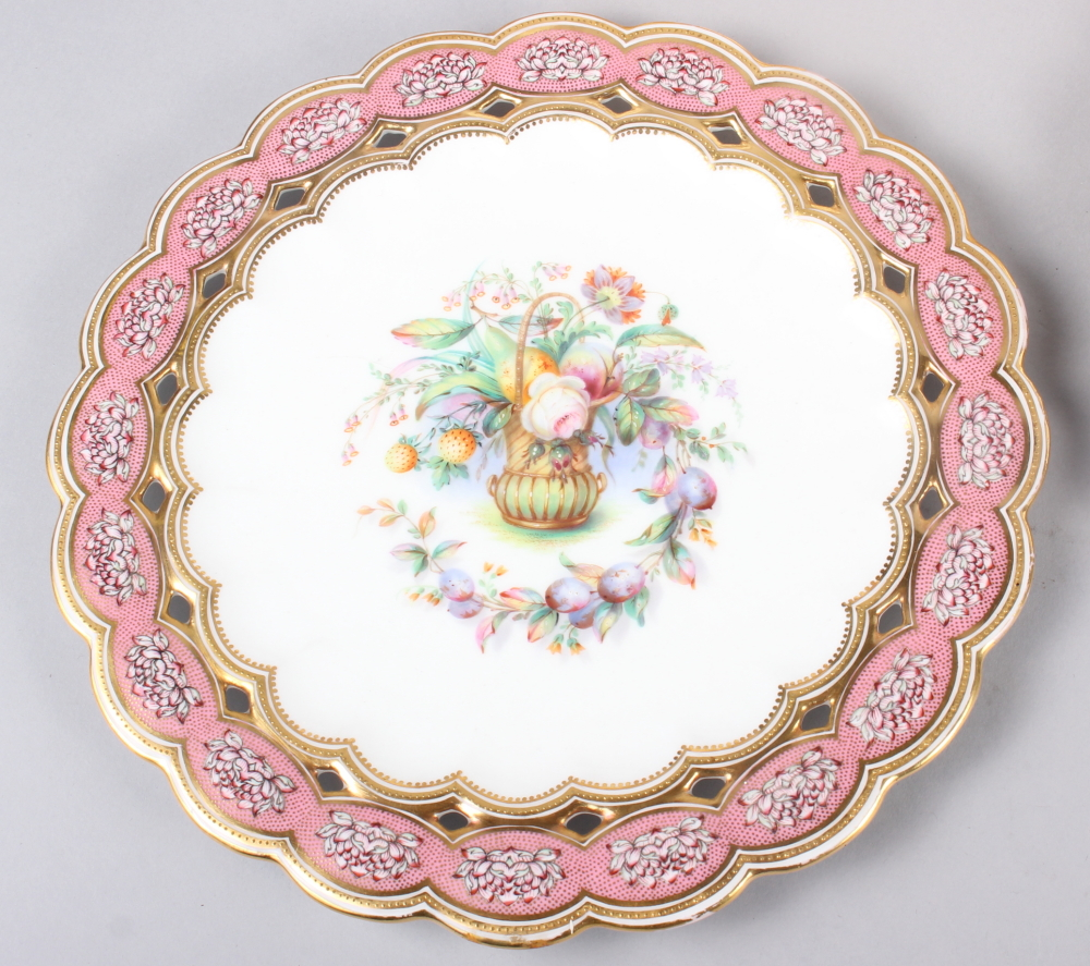Six 19th century bone china plates, decorated with baskets of flowers and fruit with pink and gilt - Image 2 of 14