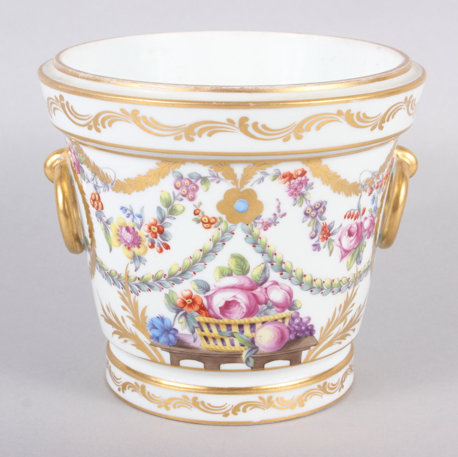 An 18th century Sevres Imperial cache pot with gilt ring handles and floral swag decoration