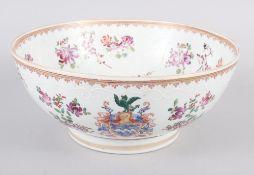 "A Sampson Paris bowl with armorial, floral and gilt decoration, 9"" dia"
