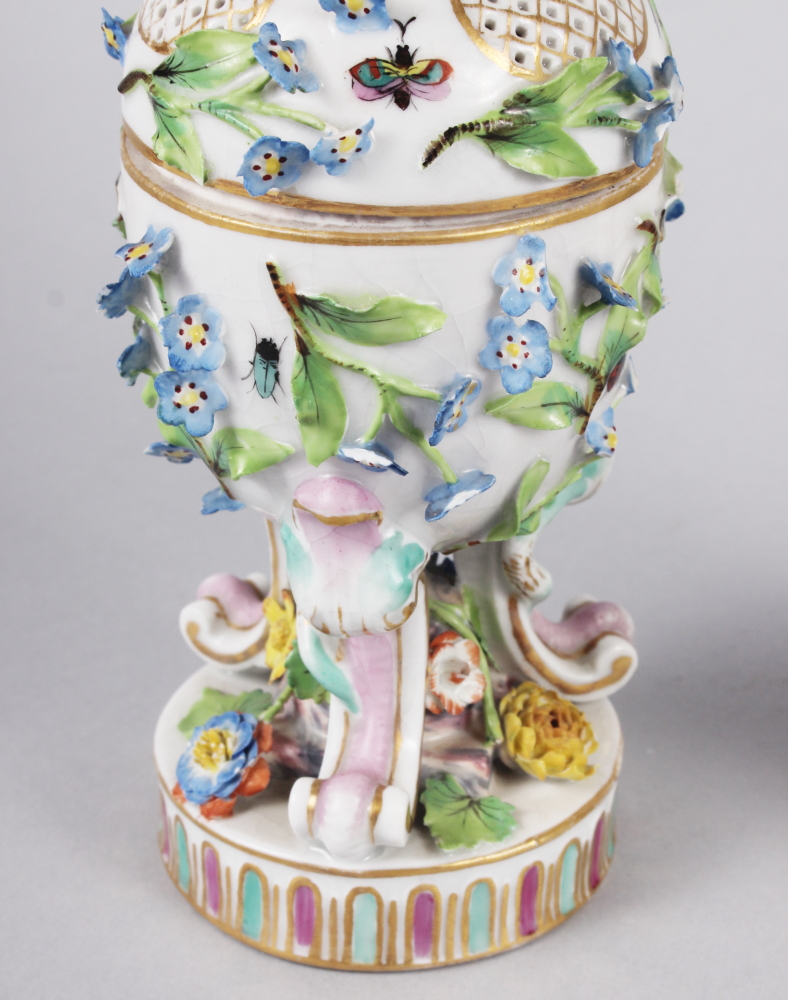 A pair of pot pourri jars with hinged covers and insect and relief floral decoration - Image 7 of 31