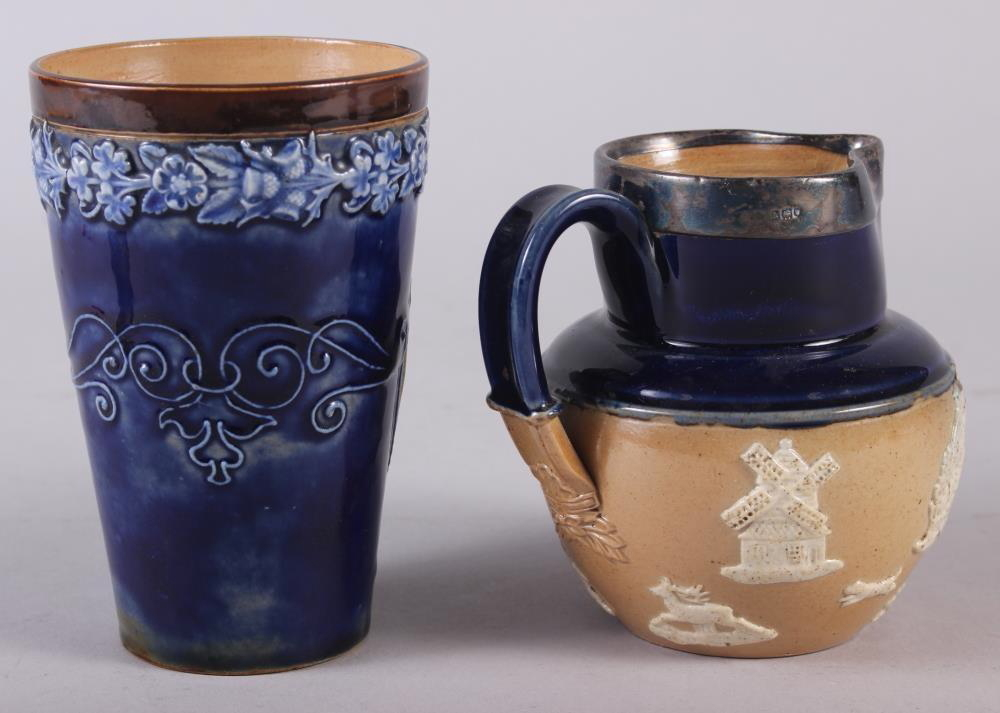 """A Doulton Stoneware 1897 Jubilee beaker, 5"""" high, and a Doulton silver mounted stoneware hunting - Image 2 of 3"""