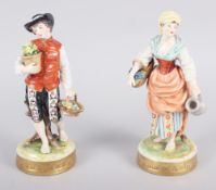 """A pair of Continental figures, flower sellers, 7 1/2"""" high"""