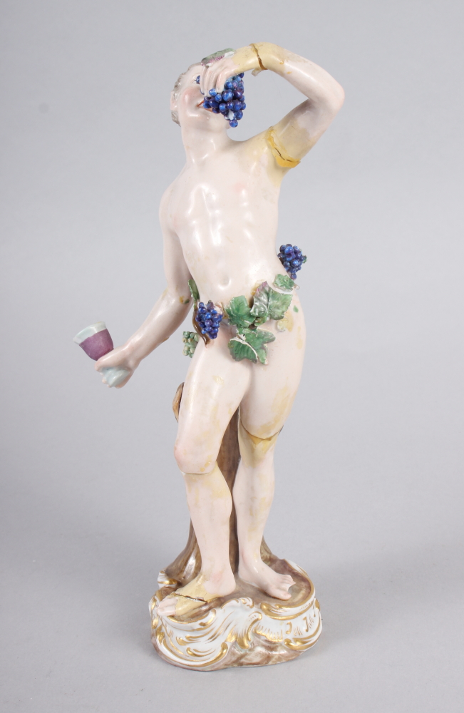 """An 18th century Meissen figure of Bacchus, 8"""" high (restored) - Image 5 of 8"""