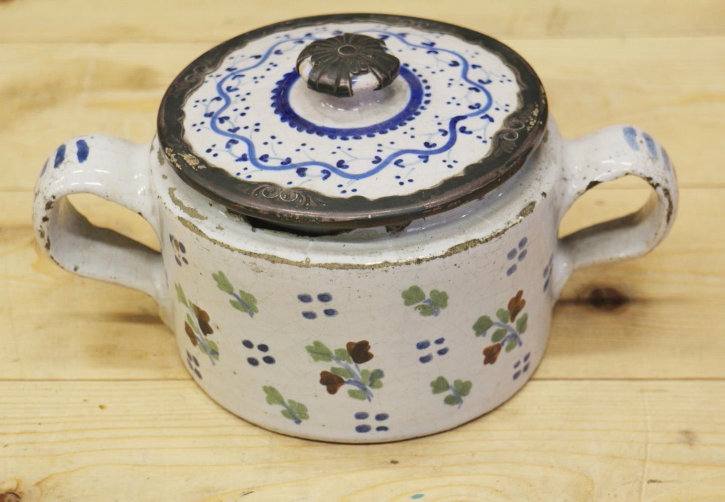An 18th century Delft ware two handled posset pot and associated cover with white metal mounts, 8 - Image 2 of 14