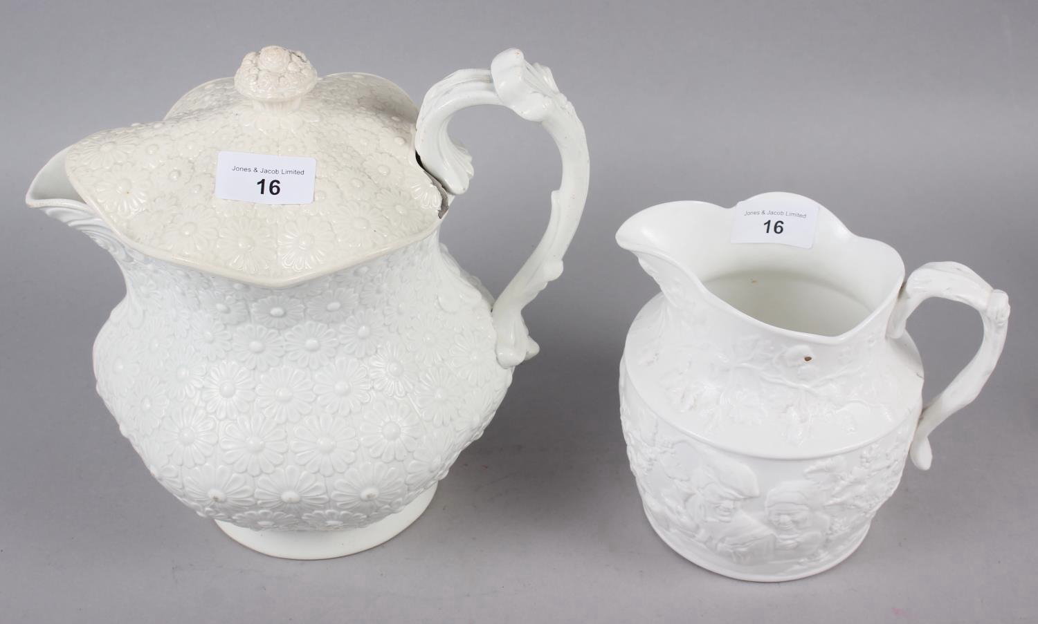 An early 19th century Don Pottery tisaniere and cover with cream stoneware body moulded daisy heads,