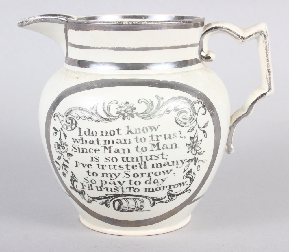 "A 19th silver and white glazed pearlware jug with verse decoration, 4 1/2"" high (chip to base) - Image 3 of 7"