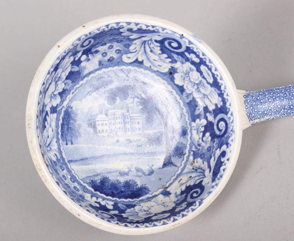 "A 19th century blue and white ladle, decorated house in a landscape, 13"" long overall - Image 2 of 3"