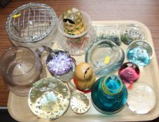 A Mdina glass scent bottle, four glass paperweights, other glass, various, and two Russian nesting