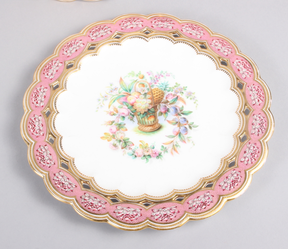 Six 19th century bone china plates, decorated with baskets of flowers and fruit with pink and gilt - Image 7 of 14