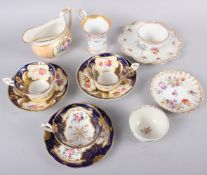 An 18th century English porcelain tea bowl, decorated insects and flowers, a Ridgeway jug with