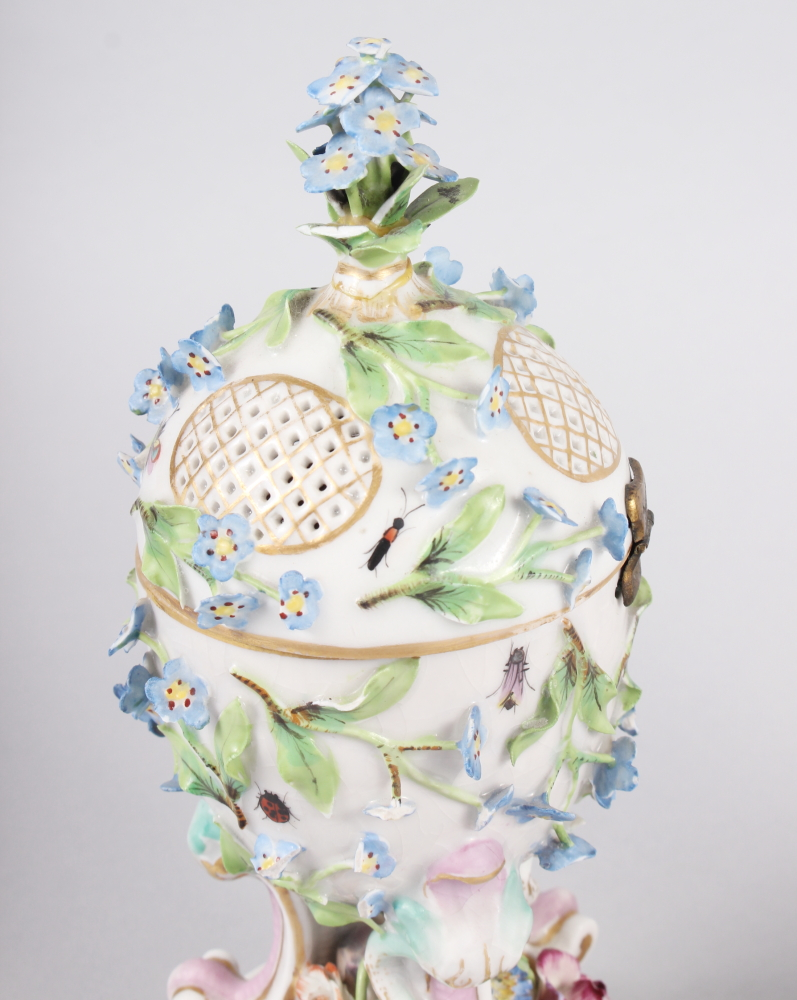 A pair of pot pourri jars with hinged covers and insect and relief floral decoration - Image 8 of 31