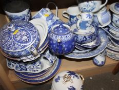 """A Spode """"Italian"""" pattern teapot (lacking lid), a Shelley blue and white teapot, various blue and"""