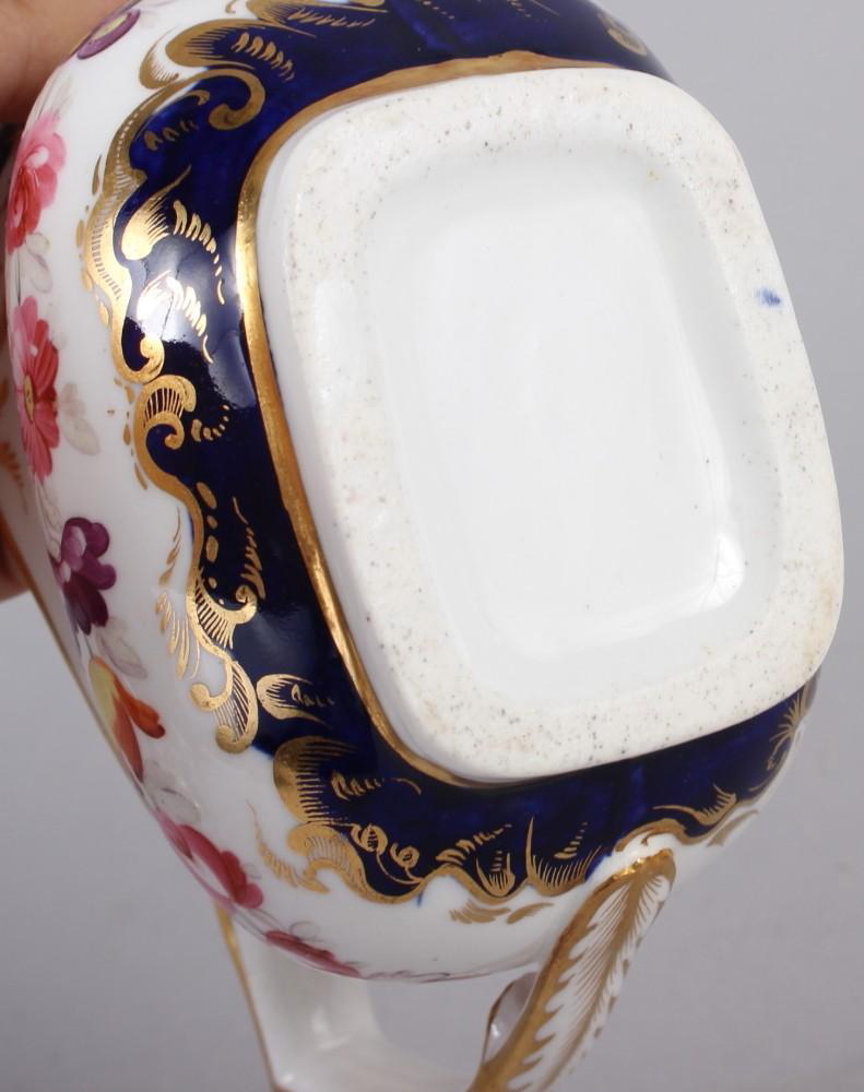 A 19th century bone china bulbous vase, decorated with panels of flower on a blue and gilt ground, 8 - Image 15 of 15