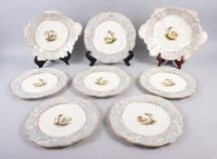 A Rockingham porcelain part dessert service, comprising six plates and two dessert dishes with