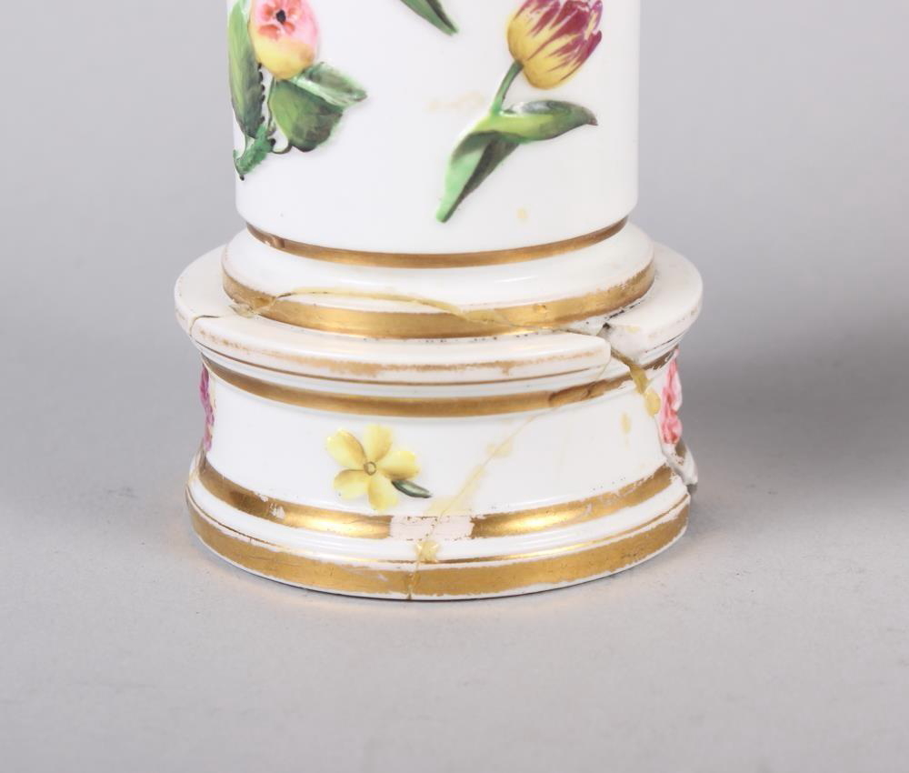 "A pair of Spode relief and floral decorated spill vases, 4 1/4"" high, and a similar spill vase, 4"" - Image 2 of 14"