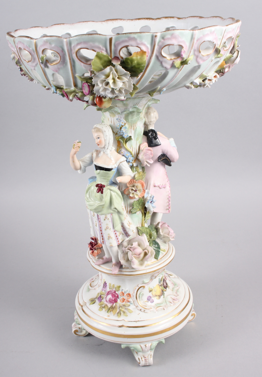 A Continental porcelain table centre, the stem decorated with two figures and floral decoration to - Image 4 of 15