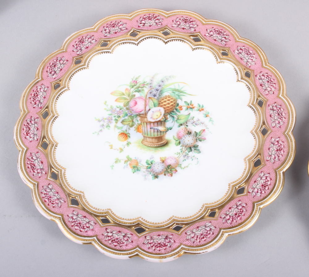 Six 19th century bone china plates, decorated with baskets of flowers and fruit with pink and gilt - Image 5 of 14