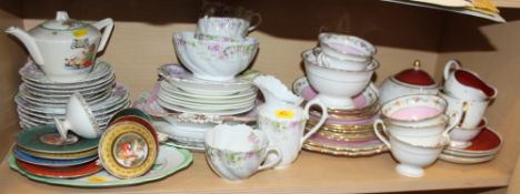 """A Susie Cooper """"Azalea"""" pattern part tea set, a Shelly part teaset with gilt and floral decoration"""