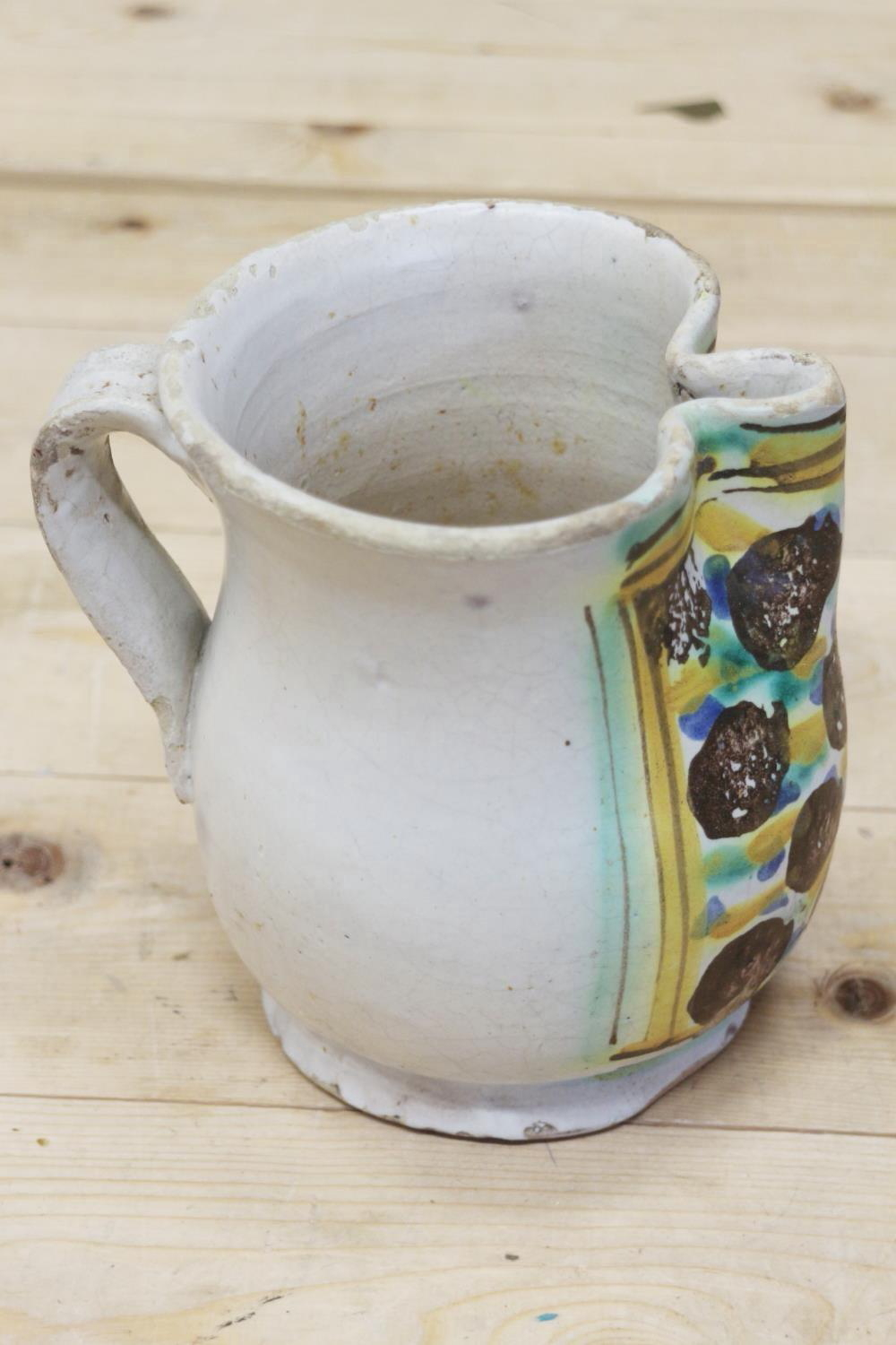 An 18th century Delft ware two handled posset pot and associated cover with white metal mounts, 8 - Image 9 of 14