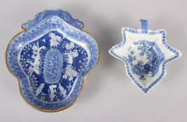 """An 18th century Worcester blue and white leaf-shaped pickle dish, 5 1/4"""" wide, and a blue and"""