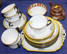 A Shelley 11203 pattern part teaset, a bachelor's Doulton Lambeth teapot and a Royal Crown Derby