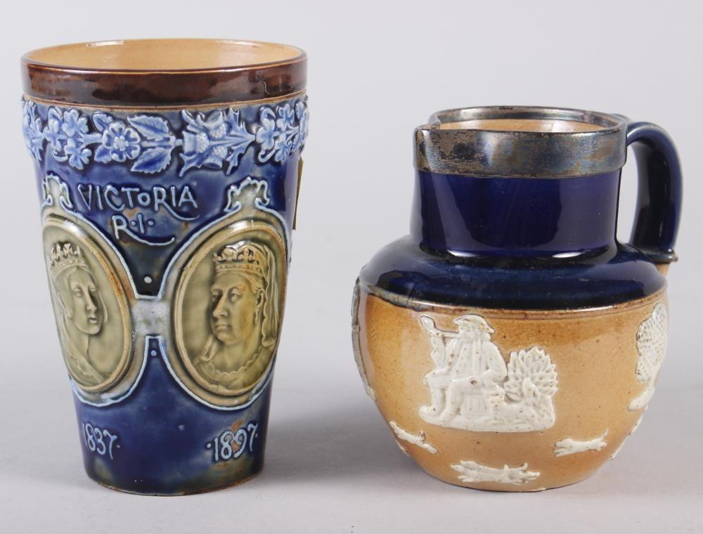 """A Doulton Stoneware 1897 Jubilee beaker, 5"""" high, and a Doulton silver mounted stoneware hunting"""