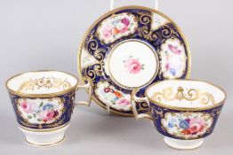 A New China Works, Worcester bone china floral and gilt decorated trio with Lynn Rose collector's