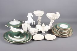 A green and gilt decorated part dinner service, two table centres and other decorative china
