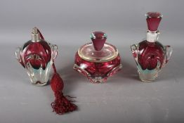 Three French Val St Lambert type dressing table items, comprising a scent bottle and stopper, a