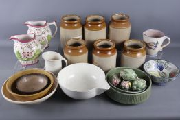 """A Honiton pottery floral decorated jug, 6"""" high, a Denby cream glazed bowl, 11"""" dia, six stoneware"""