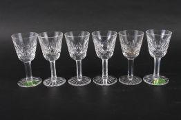 "A set of six Waterford cut glass liqueurs, 3 1/2"" high"