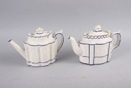 """Seven teapots comprising an early 19th century teapot with blue and gilt decoration, 6 1/2"""" high,"""