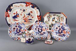 An Imari style platter, a Losolware octagonal dish, three Imari style plates, a Royal Crown Derby