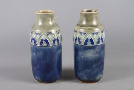"""A pair of Royal Doulton baluster vases, 10"""" high"""