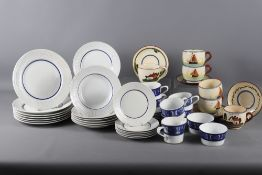 A Royal Worcester blue and white porcelain part tea service and a quantity of Torquay ware