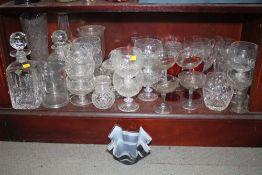 "A Stuart Crystal whisky decanter, a celery vase, 8"" high, a cut glass vase, 10 3/4"" high, four"