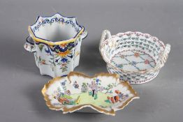 """A Herend porcelain leaf dish with insect and flower decoration, 10 1/2"""" wide, a smaller similar dish"""